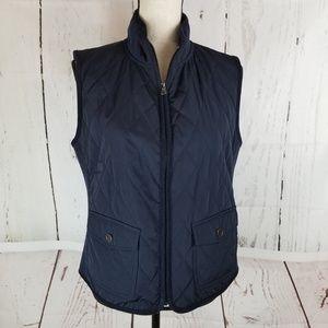 Talbots Jacket Vest Sz M Navy Blue